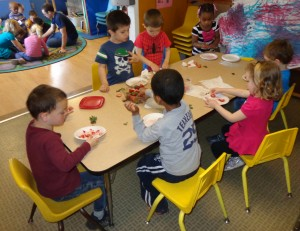 Preschoolers at Roberge enjoying a nutritious lunch together
